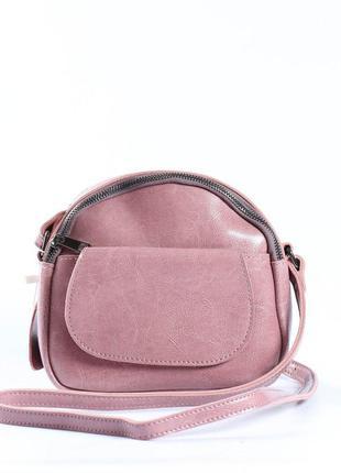 """Женская сумка через плечо, клатч из натуральной кожи розовая """"..."""