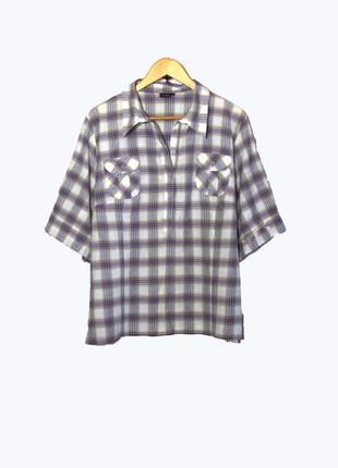 Konfex/стильная женская рубашка в клетку большого размера