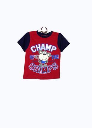 Красная футболка с обезьянкой на мальчика 2-3 лет