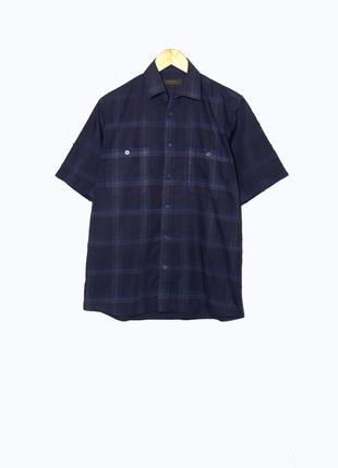 Мужская темно-синяя рубашка/тенниска в клетку