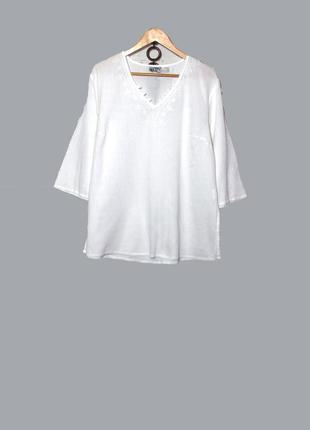 Белоснежная блуза/туника жатка,в стиле бохо большого размера