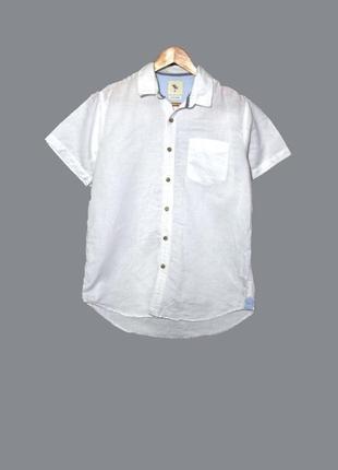 Мужская белая льняная рубашка/тенниска