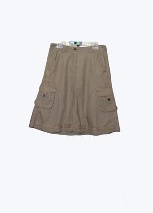 Стильная юбка-карго цвета хаки из льна