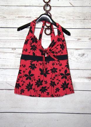 Романтичная красная майка-топ с оголенной спинкой в черный фло...
