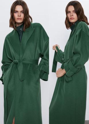 Пальто-халат  zara с зелёного цвета с поясом handmade