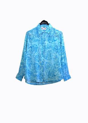 Palm court/женская рубашка/блуза в морской принт свободного кроя