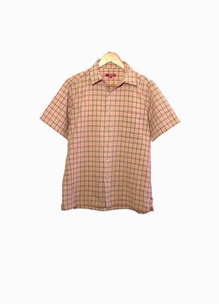 Стильная мужская рубашка/тенниска в клетку терракотового цвета...