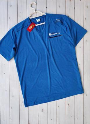 Мужская трикотажная футболка с v-образным вырезом, большой раз...