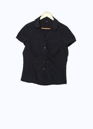 Стильная черная блуза/рубашка с коротким рукавом uk16