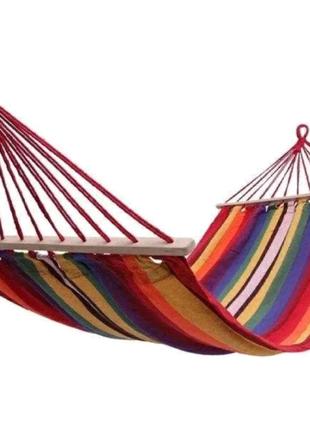 Мексиканский подвесной хлопковый гамак, с перекладинами 200*80см