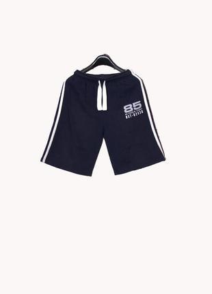 Утепленные синие шорты с лампасами