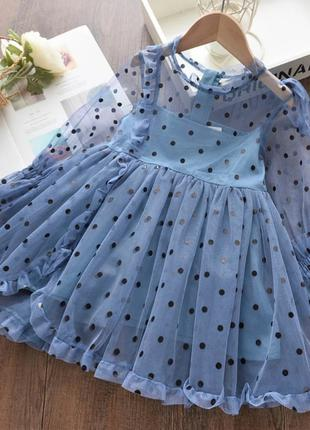 Нарядное детское платье в горох, на 3-4 года, новый