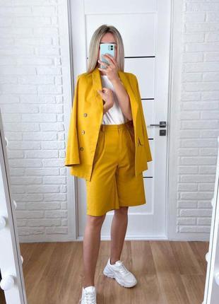 Лляний костюм двійка жіночий піджак жакет шорти бермуди