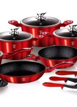 Набор посуды Berlinger Haus Burgundy 15 предметов(Кастрюля Ско...