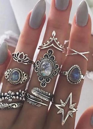 Кольца на фаланги. набор из 11 колец. цвет серебро (ring11star)