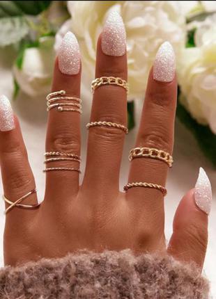 Кольца на фаланги. золотистый набор из 8 колец (ring8)