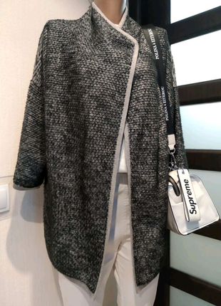 Стильный зернистый пиджак жакет блейзер кардиган накидка кофта