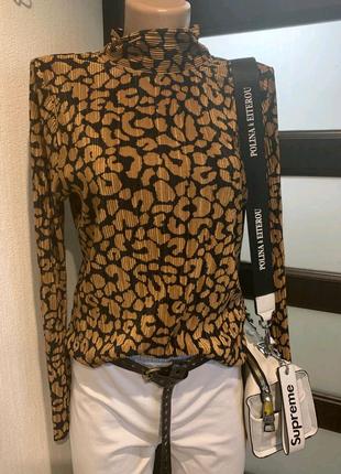 Микрогофре стильная брэндовая блузка водолазка кофта джемпер