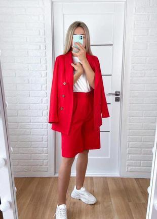 Жіночий лляний костюм двійка шорти бермуди піджак жакет