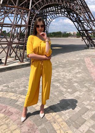 Лляний жіночий костюм двійка штани кофта вільна