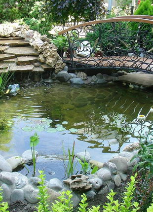 Водоемы декоративные, пруды, каскады, ручьи. Автополивы. Газоны.