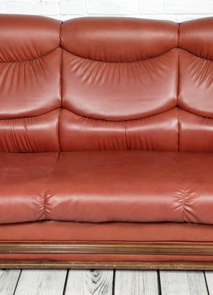 Комплект Диван раскладной 2 кресла Б/У Кожзам