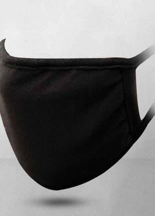 Маска защитная тканевая многоразовая из хлопка, черная