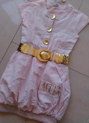 Нарядное розовое платье для девочки 9-10 лет
