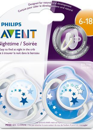 Силиконовые ортодонтические ночные пустышки Philips Avent 6-18