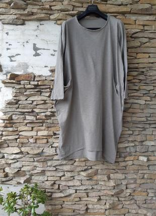 Стильное котоновое с карманами платье большого размера
