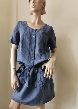 Hessnatur повседневное платье шелк/лен