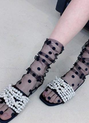 Черные фатиновые носочки боббинетки в горошек фатин сетка