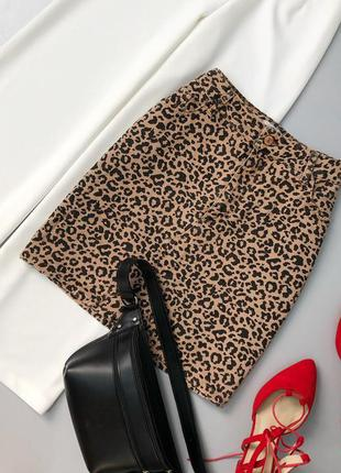 Джинсовая леопардовая юбка мини new look