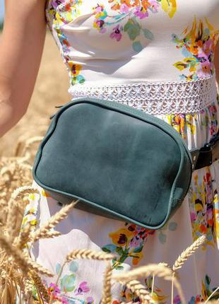 Поясная зеленая сумка из натуральной кожи