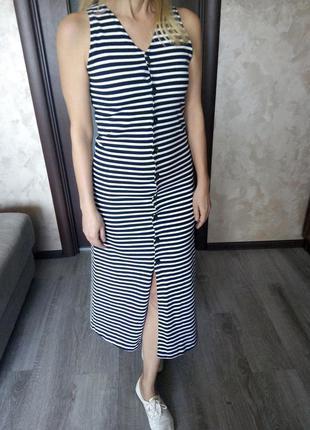 Нью-йорк платье халат тельняшка в тёмно-синюю полоску на пугов...