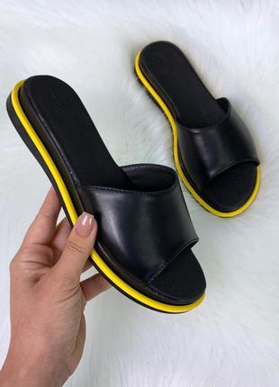 Новые женские кожаные чёрные шлёпки шлёпанцы сабо