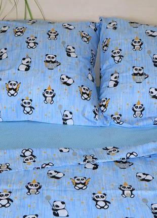 Комплект постельного белья полуторный. маленькие панды
