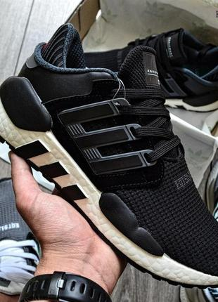 Мужские кроссовки adidas eqt support 91/18 black (черно/белые)