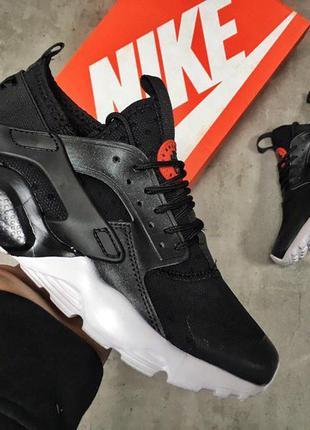 Мужские кроссовки nike air huarache run ultra (черно/белые)