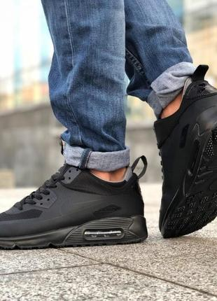 Мужские кроссовки nike air max 90 ultra mid (черные)