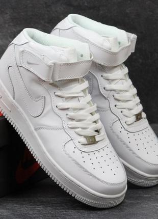 Мужские кроссовки nike air force high (белые)