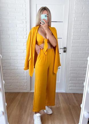 Лляний жіночий костюм трійка штани палаццо топ на зав'язках пі...