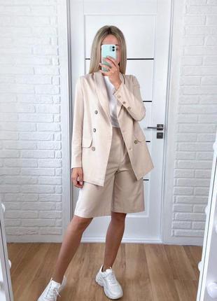Лляний жіночий костюм двійка жакет піджак шорти бермуди