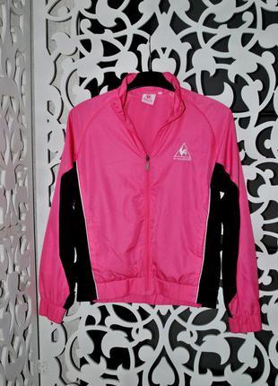 Яркая розовая олимпийка s/m женская испания бренд ветровка бомбер