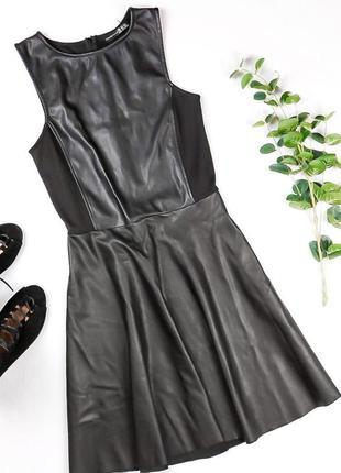 Крутое кожаное платье со вставками
