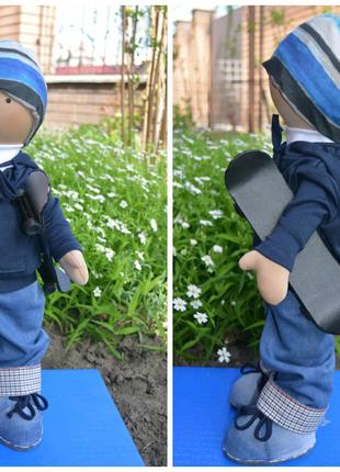 Мягкая интерьерная кукла скейтбордист подарок мальчику рождения