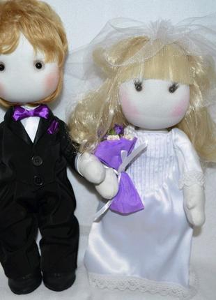 Мягкая интерьерная кукла жених невеста молодожены свадьба подарок