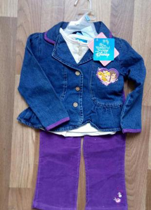 Фирменный костюмчик-тройка для маленькой модницы, disney,