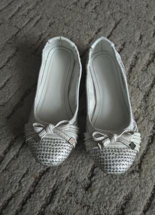 Туфли-балетки белые, р.34