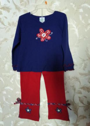 Яркий трикотажный костюмчик для девочки simply basic, 3-4 года
